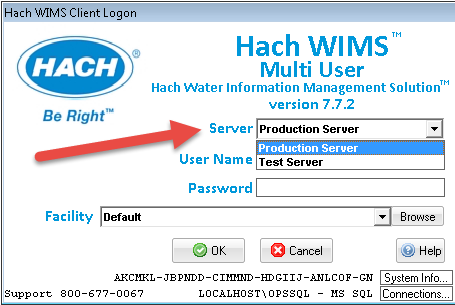 Multi Server Login Hach_WIMS_Client ini settings [Q14519]
