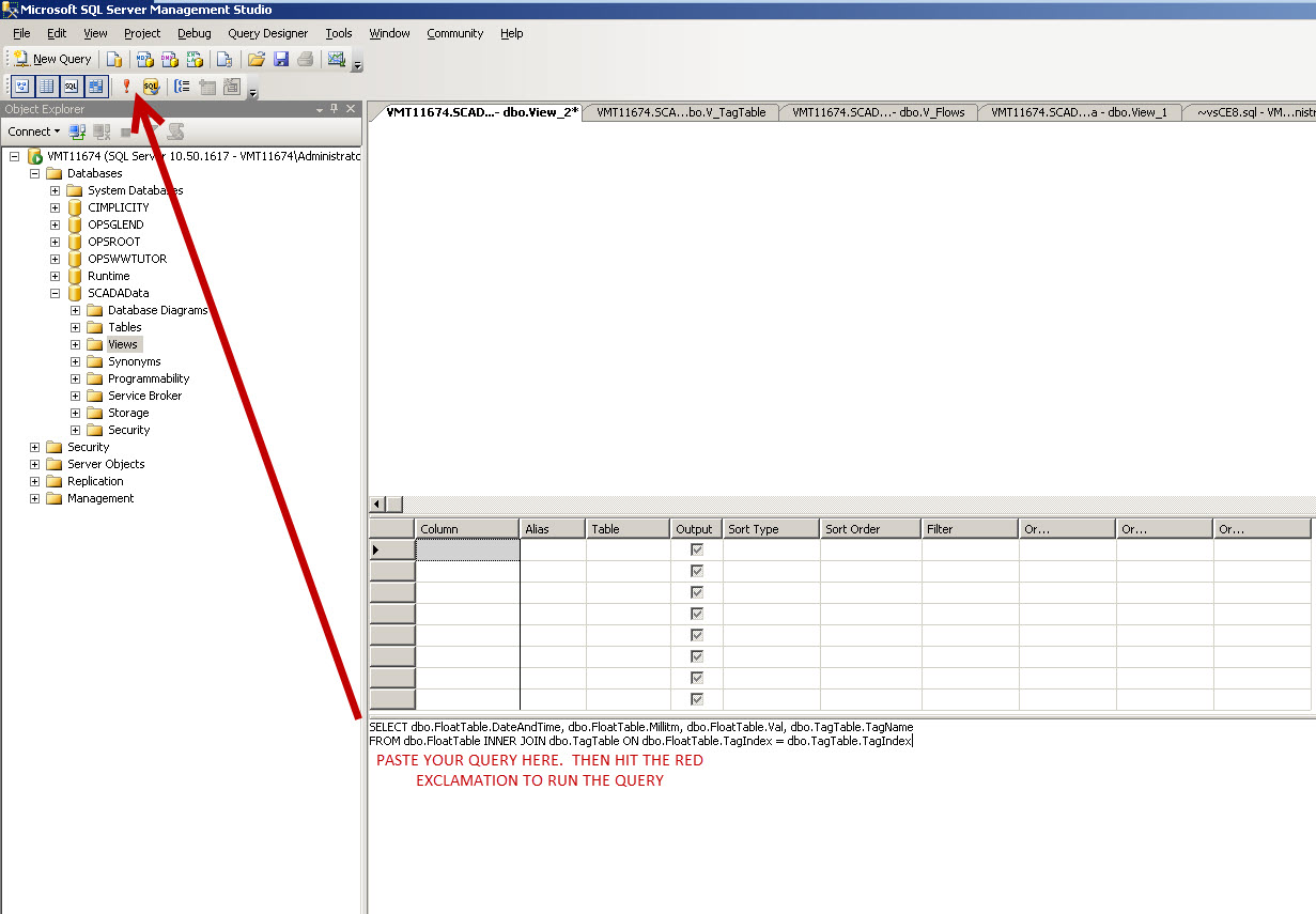 Create a Database Table View in SQL (Factory Talk as the Example