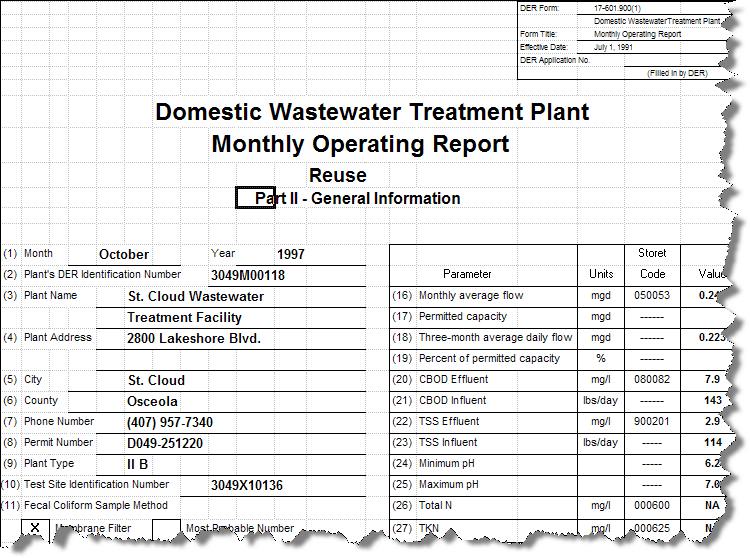 Florida Wastewater Report Templates [Q11413]
