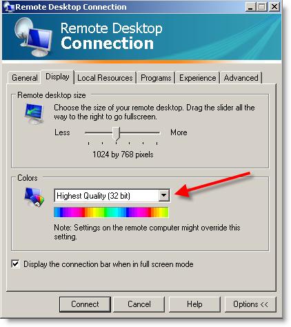 Increase value of your color depth when using Remote Desktop