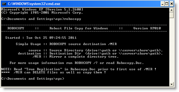 robocopy windows xp