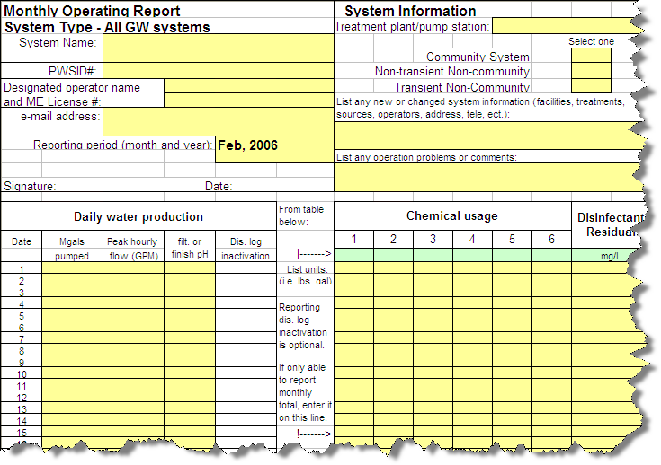 Maine Drinking Water Report Templates Q11481